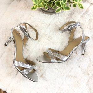 MICHAEL KORS | Silver Leather Ankle Strap Heels